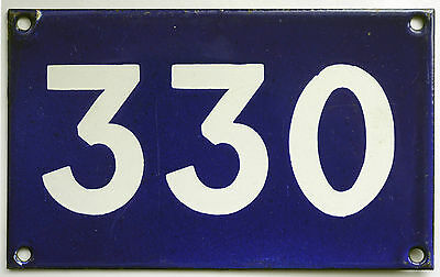 Old Australian used house number 330 door gate enamel metal sign in French blue
