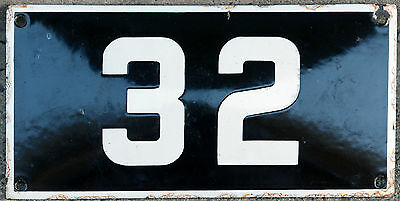 Large French house number 32 door gate plate plaque enamel steel metal sign