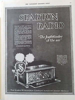 1926 Sparton Radio Sparks Withington Company Pathfinder of Air Music Ad