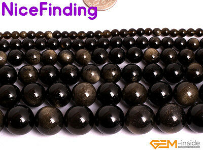 Natural GoldObsidian Round Beads For Jewelry Making Gemstone 15'' 4mm 6mm-14mm