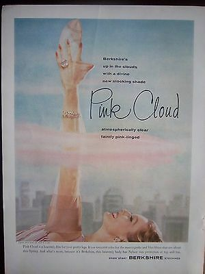 1955 Vintage BERKSHIRE Pink Cloud Stockings Hosiery Faintly Tinged Ad