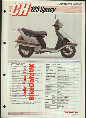 Genuine Honda-UK CH125 Spacy Data Sheet Brochure 1984-on CH 125 Scooter JF02
