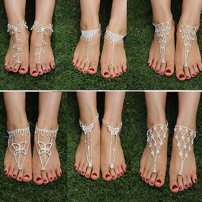 Bling Barefoot Beach Sandals Bridal/Wedding Crystal Anklet Foot Ring Jewellery