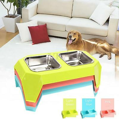 New Pet Dog Cat Double Stainless Steel Bowl Dish Food Feeder Raised Stand Holder