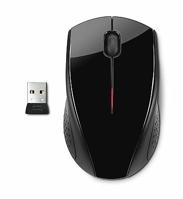 NEW HP X3000 Wireless Optical Mouse Premium Design USB Glossy Black 2.4Ghz