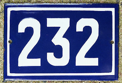 Old blue French house number 232 door gate plate plaque enamel steel metal sign