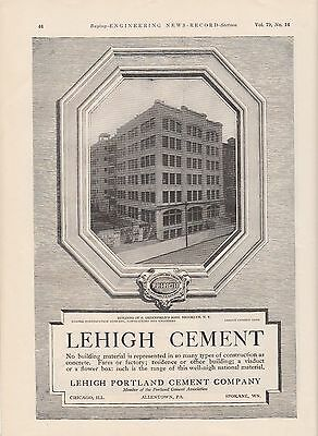 1917 Lehigh Portland Cement Co Ad: E. Greenfield's Sons Building Brooklyn NY