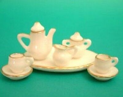 Dolls House Miniature:    Tea Set   white with gold edging    12th scale