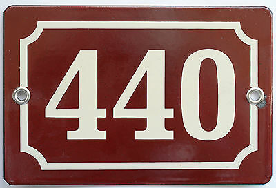 Brown French house number 440 door gate plate plaque enamel steel metal sign
