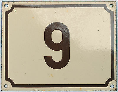 Vintage French house number 6 9 door gate plate plaque enamel steel metal sign
