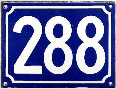 Large old blue French house number 288 door gate plate plaque enamel metal sign