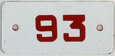 Vintage German house number 93 door gate plate plaque enamel steel metal sign