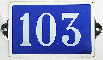 Old blue French house number 103 door gate plate plaque enamel steel metal sign