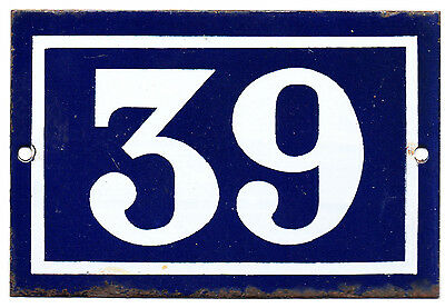 Old blue French house number door gate plate plaque enamel metal sign steel 39