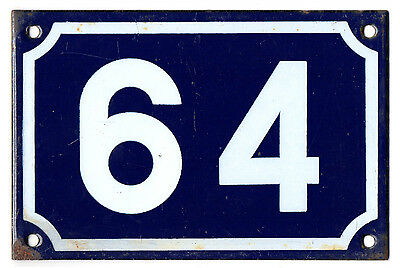 Old blue French house number 64 door gate plate plaque enamel metal sign steel