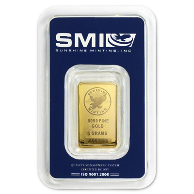 5 Gram Sunshine Mint .9999 Fine Gold Bar In Assay Mint Mark SI