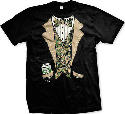 9d6c89be FUNNY REDNECK CAMO Tuxedo T-Shirt Beer Drinking Camouflage Tux Tee ...