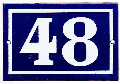 Old blue French house number 48 door gate plate plaque enamel steel metal sign