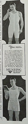 1934 Mens Munsingwear One Piece and Boxer Underwear Clothing Fashion Original Ad