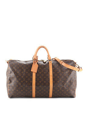 LOUIS VUITTON Brown Coated Canvas Monogram Keepall 60 Travel Bag BP3459 MHL