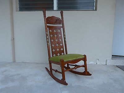 Unusual Arts And Crafts Oak Rocking Chair With Brass Wrapped Post And Cut Outs P