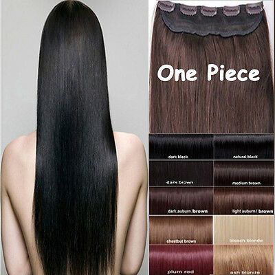 Deluxe One Piece Clip in Remy Human Hair Extensions Black Brown Blonde Full Head