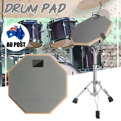 """Musical 8"""" Rubber & Wood Drum Practice Silencer Pads Quiet Training Dumb Pad"""