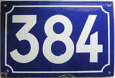 Large old French house number 384 door gate plate plaque enamel steel metal sign