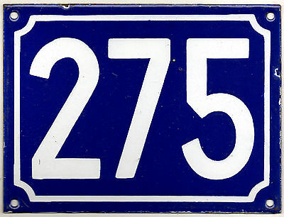 Large old blue French house number 275 door gate plate plaque enamel metal sign
