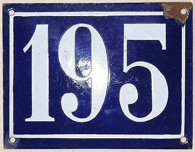 Old blue large French house number 195 door gate plate plaque enamel steel sign