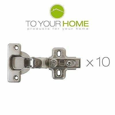 10 x 35mm Clip On Soft Close Hinge Kitchen Cupboard Cabinet Door Inset 90 degree