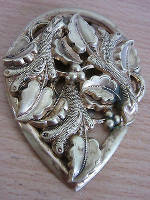 Antique Victorian Large Ornate Rolled/Filled Gold Scarf Pin/Brooch