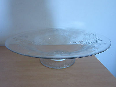 "Hawkes Stunning Large Antique Etched Glass/Crystal 16"" Footed Centerpiece Bowl"