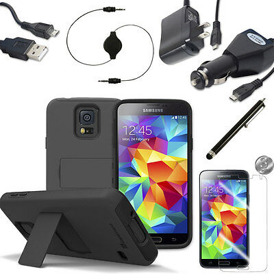 Hard Durable Case Cover for Samsung Galaxy S5 SV w/ Kickstand Charger Film Black