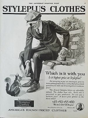 1920 Vintage Styleplus Clothes Mens Suit Clothing Feeding Squirrel