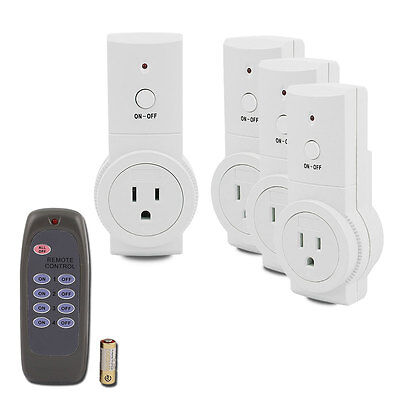 1,2,3,4 Pack Wireless Remote Control AC Power Outlet Plug Light Switch Socket