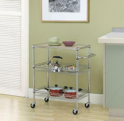 Chrome 3-Tier Wire Rolling Kitchen Cart Utility Food Service Microwave Stand C36
