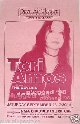"Tori Amos / The Devlins 1998 ""plugged '98 Tour"" San Diego Concert Poster"