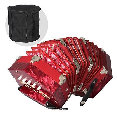 Concertina Accordion 20-Button 40-Reed Anglo Style with Carrying Bag Red L3D4