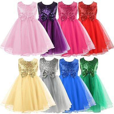 Girls Sequinned Flower Dress Princess Wedding Bridesmaid Pageant  Formal Party