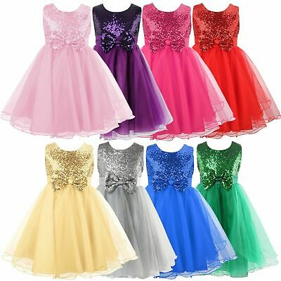UK Kids Baby Flower Girls Party Sequin Dress Wedding Bridesmaid Bowknot Princess
