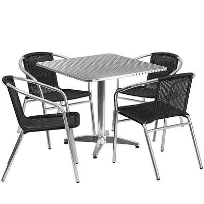 31.5'' Square Aluminum Indoor-Outdoor Table With 4 Black Rattan Chairs