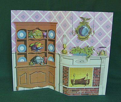 Barbie DREAM HOUSE Retro LIVING DINING ROOM BACKDROP PERFECT for DIORAMA DISPLAY