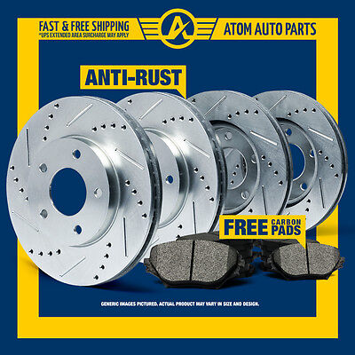 (FRONT & REAR KIT) SILVER Slotted Drilled Rotors AND Carbon Metallic Brake Pads