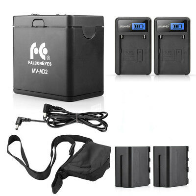 FALCONEYES Pro NP-F970 Battery Holder +2xNP-F970 Battery +2xBattery Charger