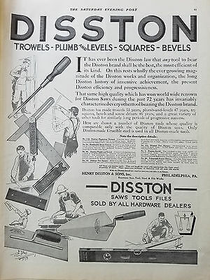 1912 Vintage Henry Disston & Sons Trowel Plumb Level Square Bevels TOOLS Ad