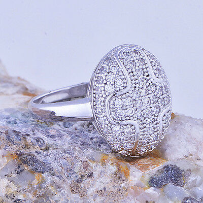 Wedding Womens White gold filled oval Cross crystal promise love Ring size 6 7 8
