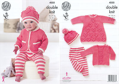 Knitting Pattern King Cole Baby Heart Motif Dress Sweater Leggings Hat Set 4555