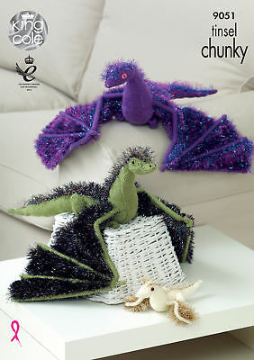 Tinsel Chunky Knitting Pattern Adult or Baby Dragon Animal Toys King Cole 9051