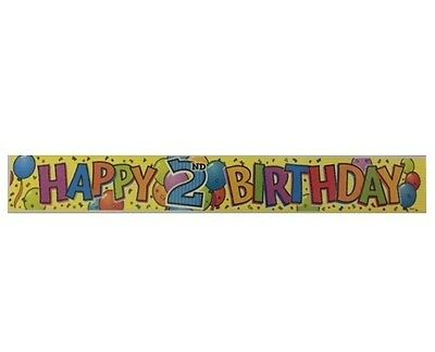 Happy 2nd Birthday Foil Party Banner (Unique #81182) 12ft Yellow/Celebrations